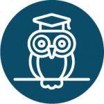 Owl with glasses and graduation cap